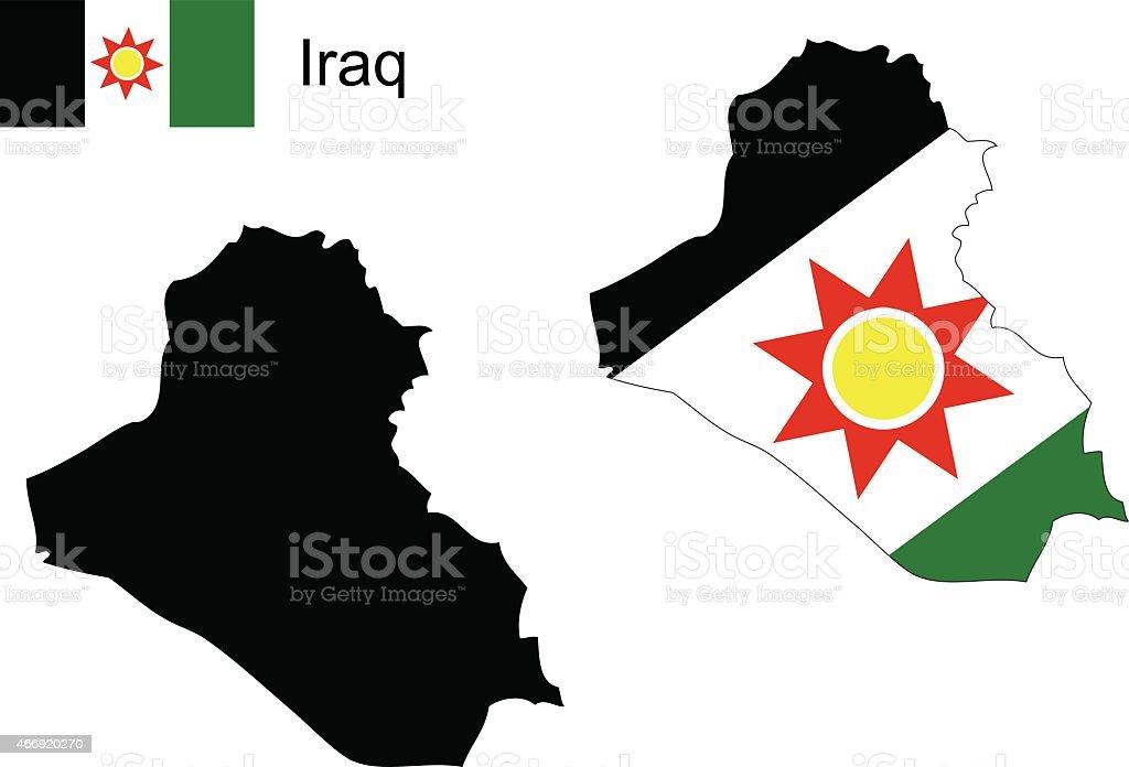 Iraq map and flag vector, Iraq map, Iraq flag vector art illustration