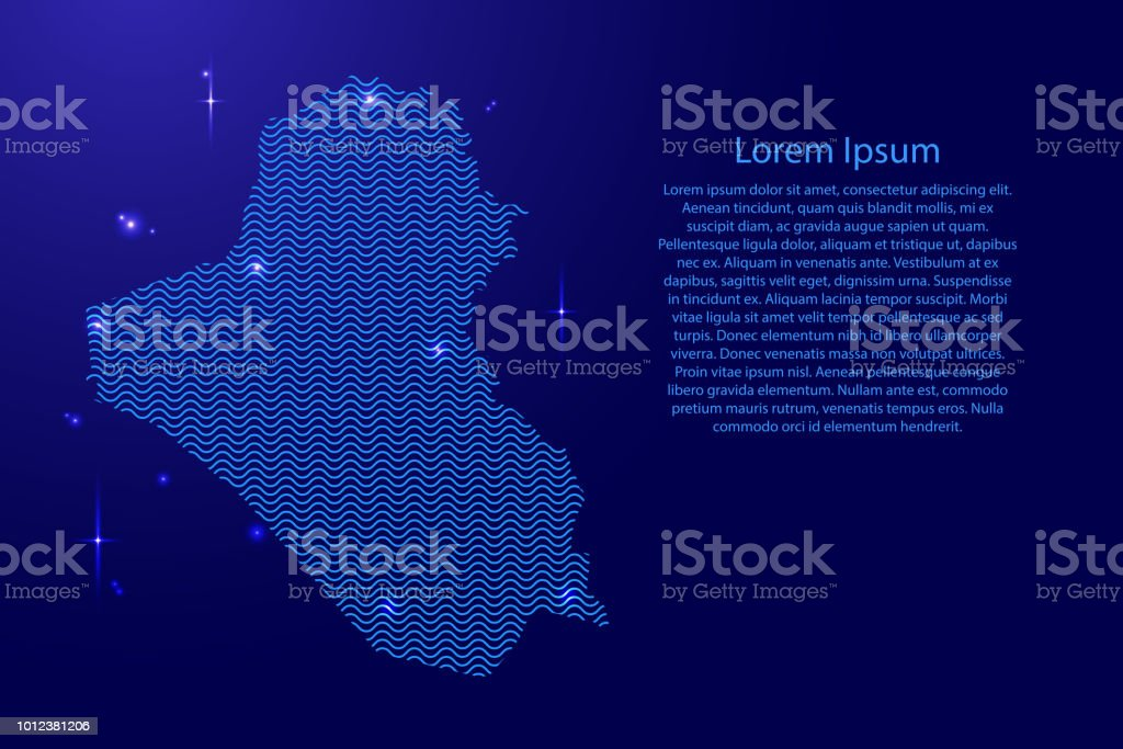 Iraq map country abstract silhouette from wavy blue space sinusoid lines and glowing stars. Contour state of creative luminescence curve. Vector illustration. vector art illustration