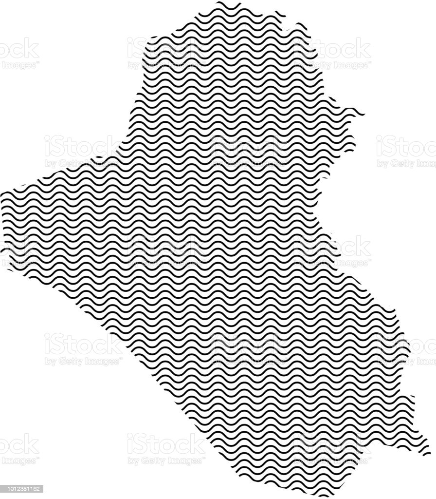 Iraq map country abstract silhouette of wavy black repeating lines. Contour of sinusoid curve. Vector illustration. vector art illustration