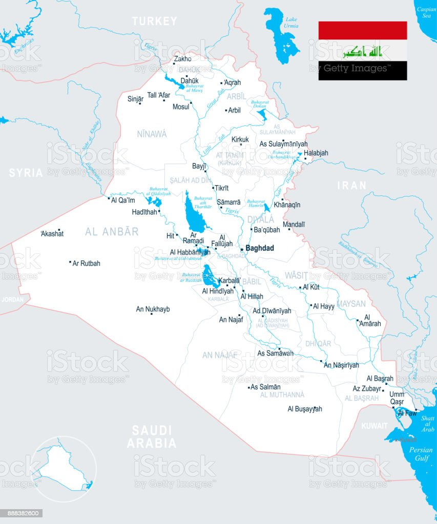 Iraq Map Detailed Vector Illustration Stock Vector Art & More Images ...