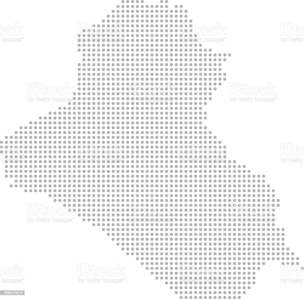 Iraq map dots vector outline, dotted map, point patterns map faded gray background image art vector art illustration