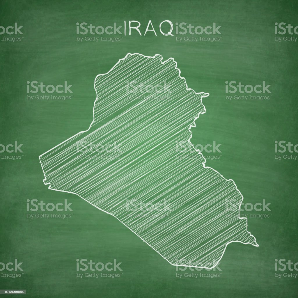 Iraq map drawn on chalkboard - Blackboard vector art illustration