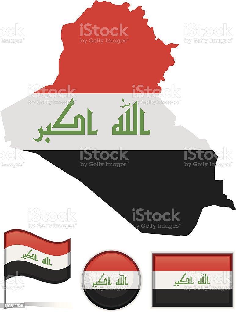 Iraq map & flag vector art illustration