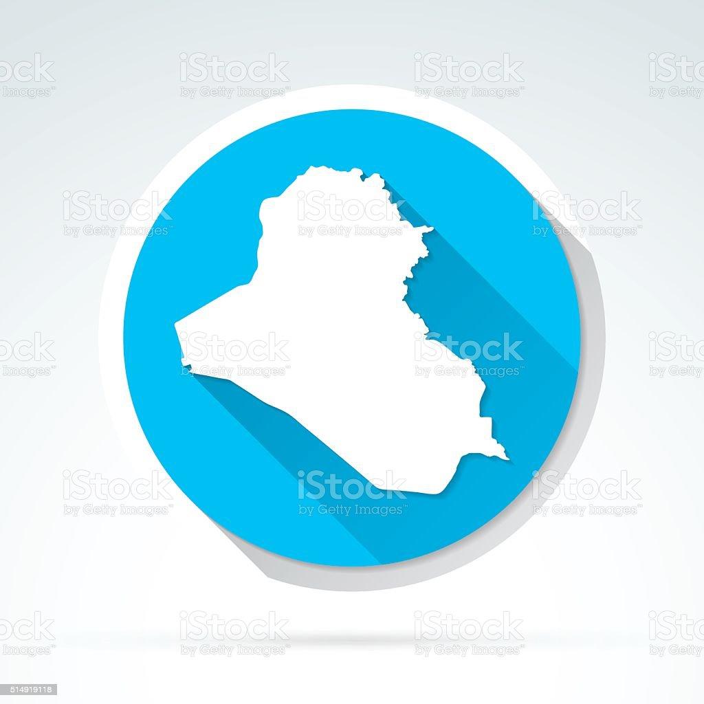 Iraq map icon, Flat Design, Long Shadow vector art illustration