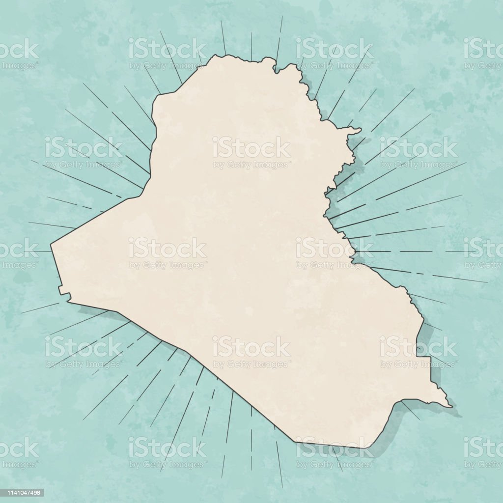 Map of Iraq in a trendy vintage style. Beautiful retro illustration...