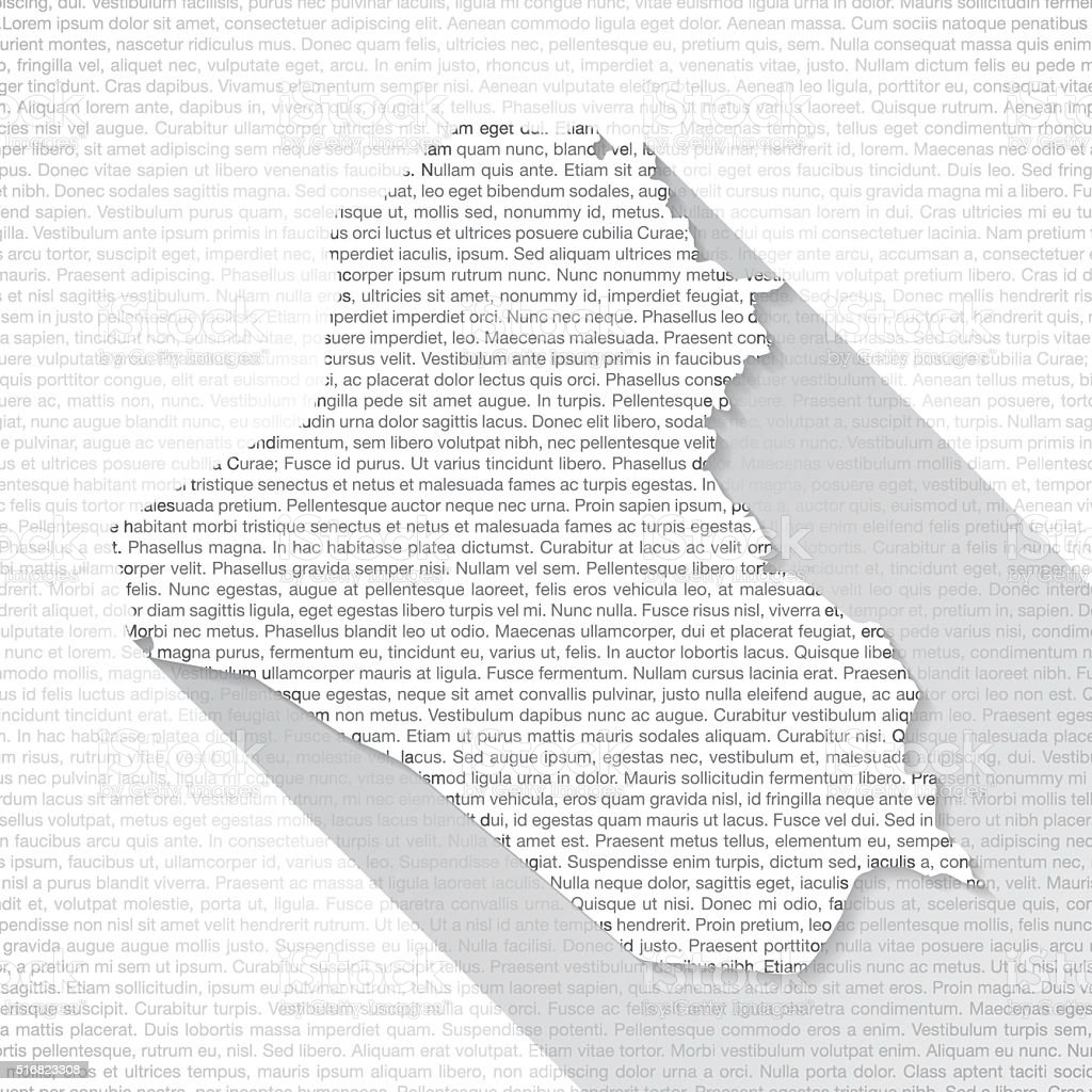 Iraq Map on Text Background - Long Shadow vector art illustration