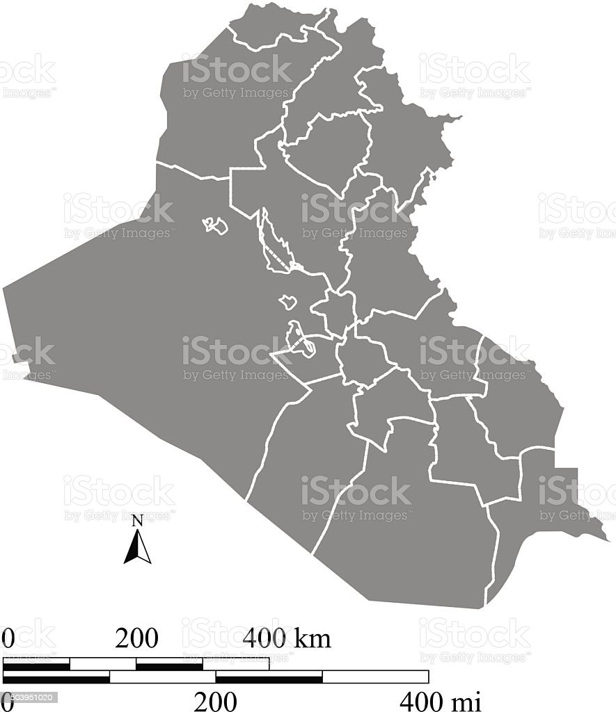 Iraq Map Outline Vector With Scales Of Miles And Kilometers stock