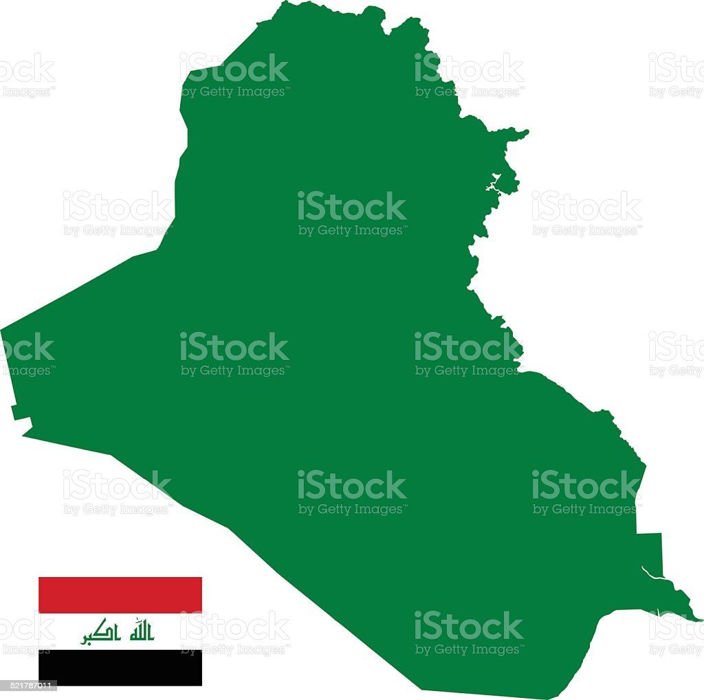 Iraq Map silhouette with Flag vector art illustration