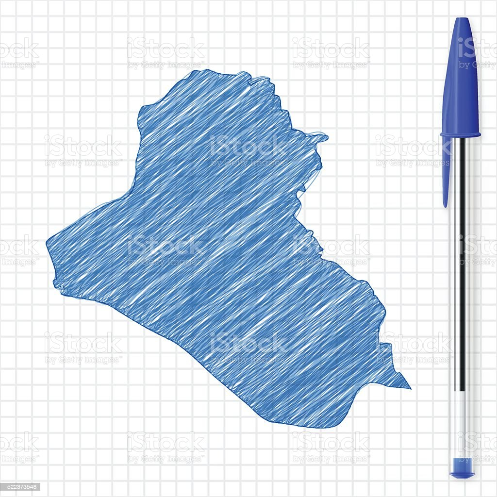 Iraq map sketch on grid paper, blue pen vector art illustration