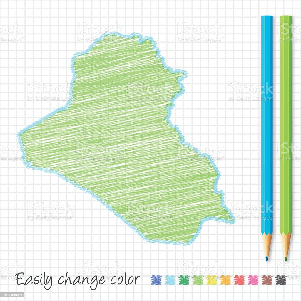 Iraq map sketch with color pencils, on grid paper vector art illustration