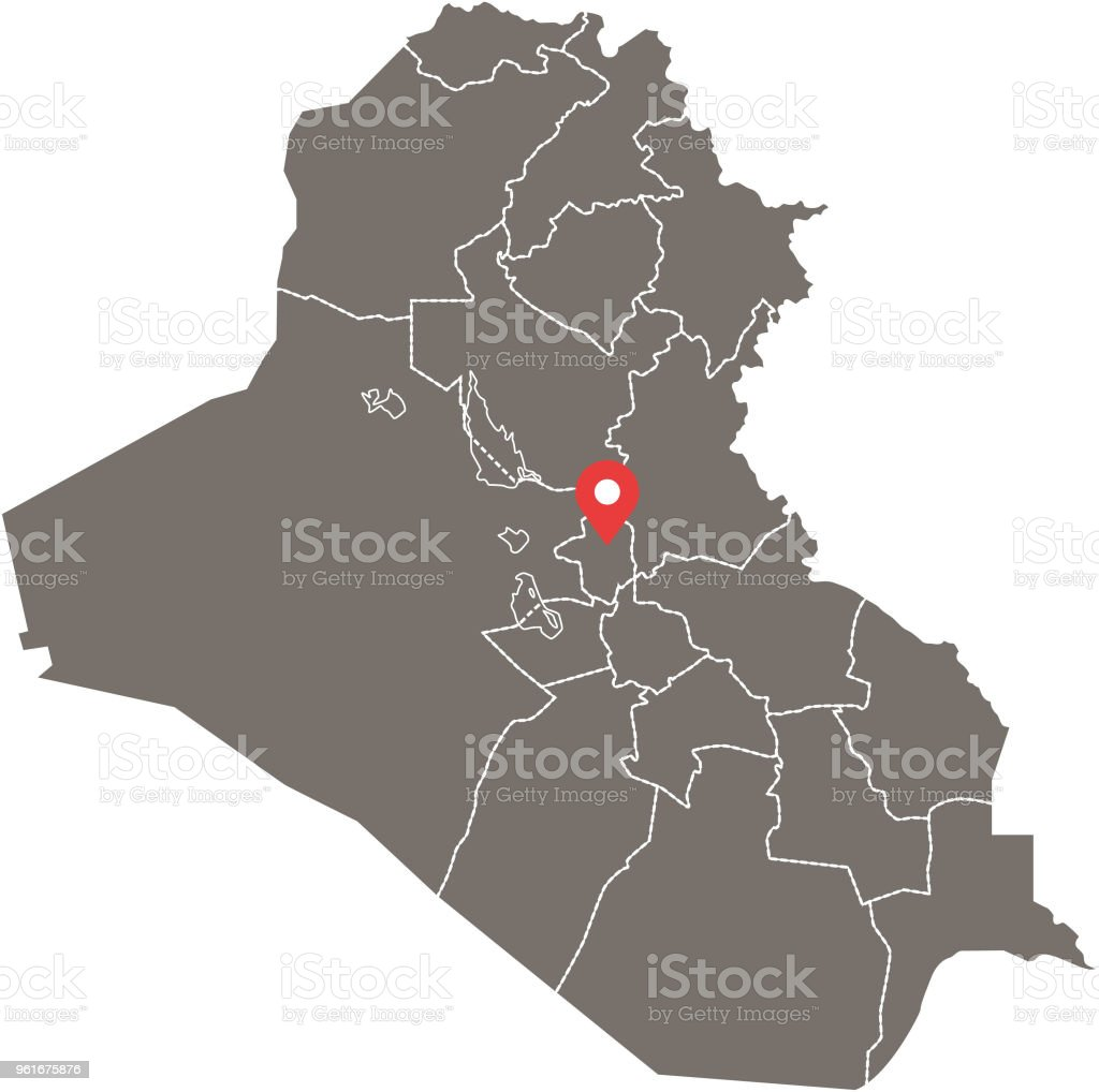 Iraq Map Vector Outline With Provinces Or States Borders And Capital ...