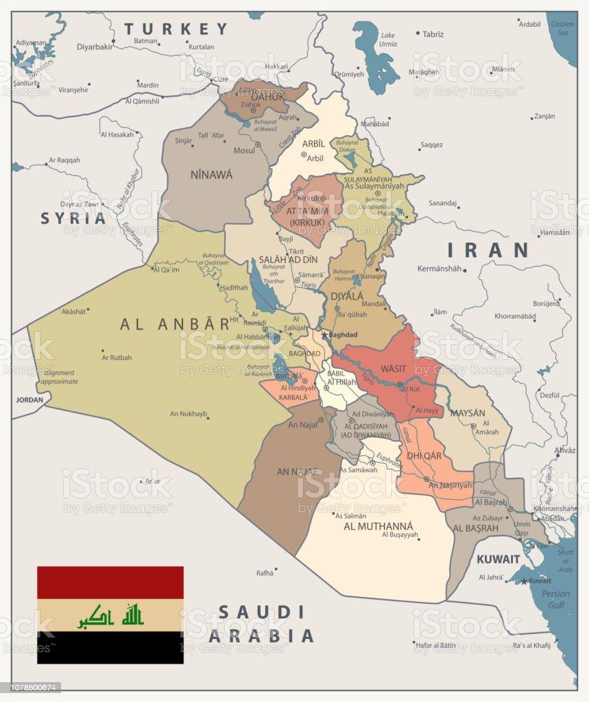 Iraq Map Vintage Color Map Stock Illustration - Download ...