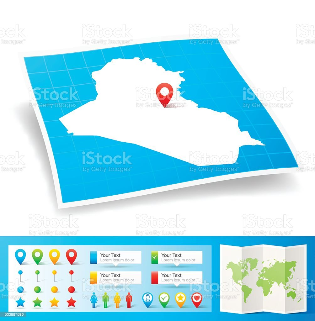 Iraq Map with location pins isolated on white Background vector art illustration