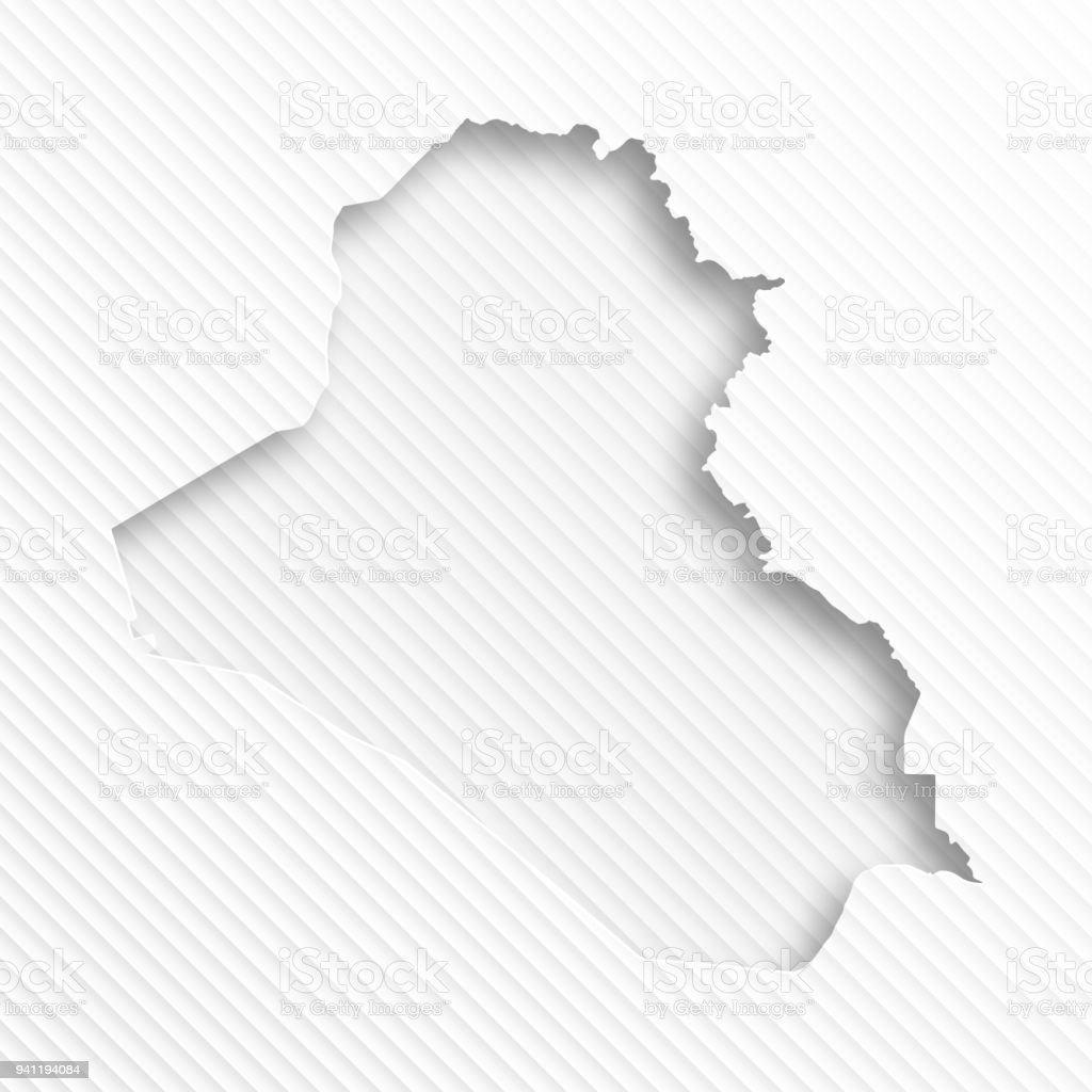 Iraq Map With Paper Cut On Abstract White Background Stock Vector
