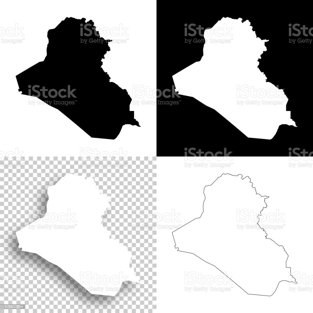 Iraq Maps For Design Blank White And Black Backgrounds Stock Vector