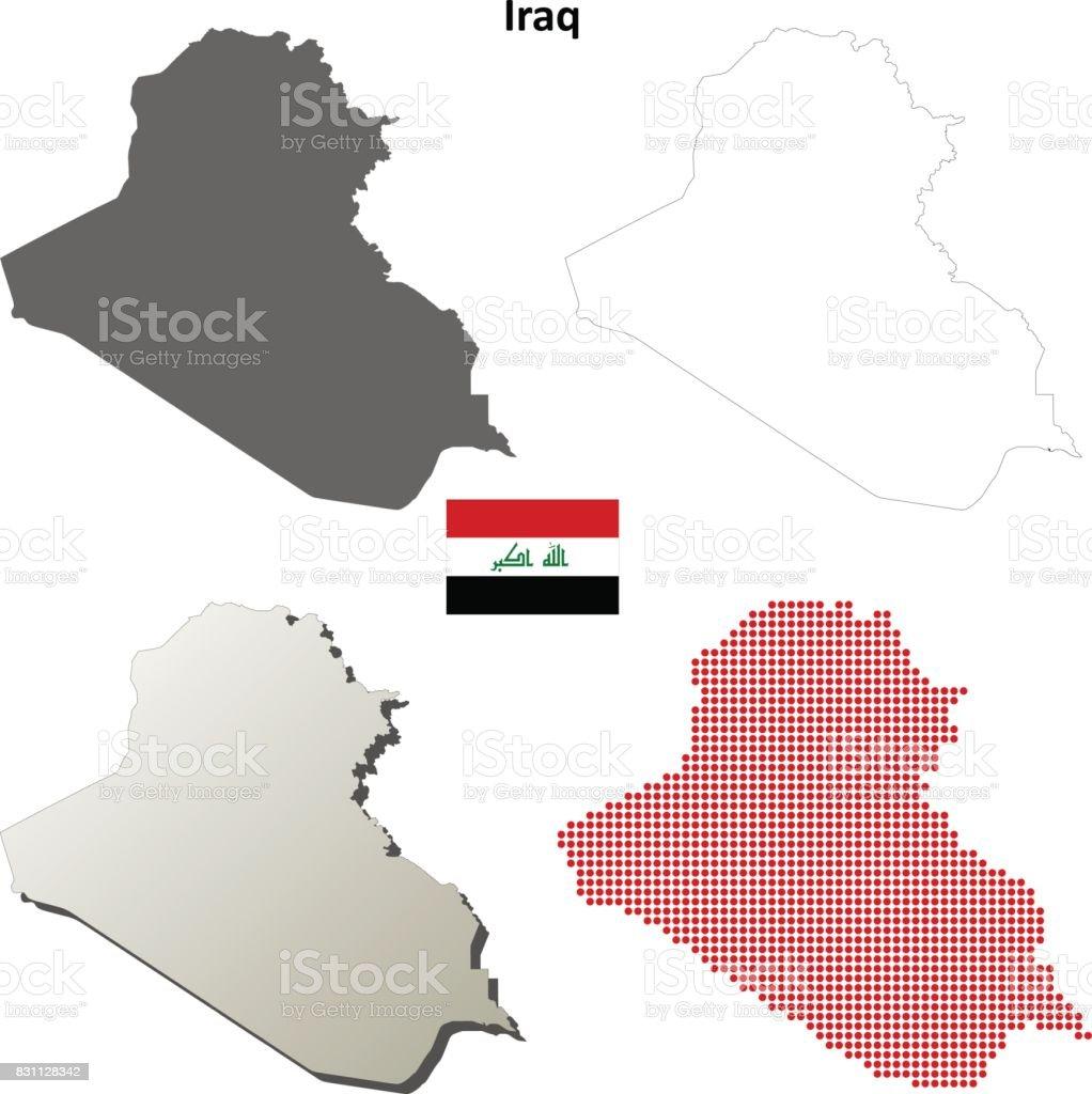 Iraq outline map set vector art illustration