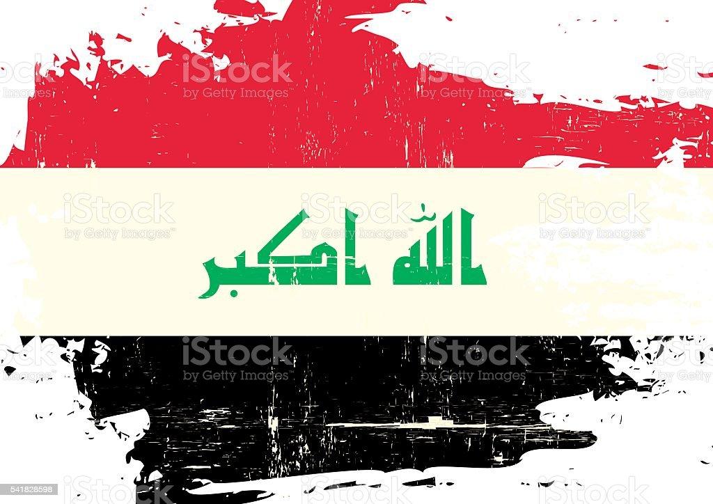 Iraq scratched Flag vector art illustration