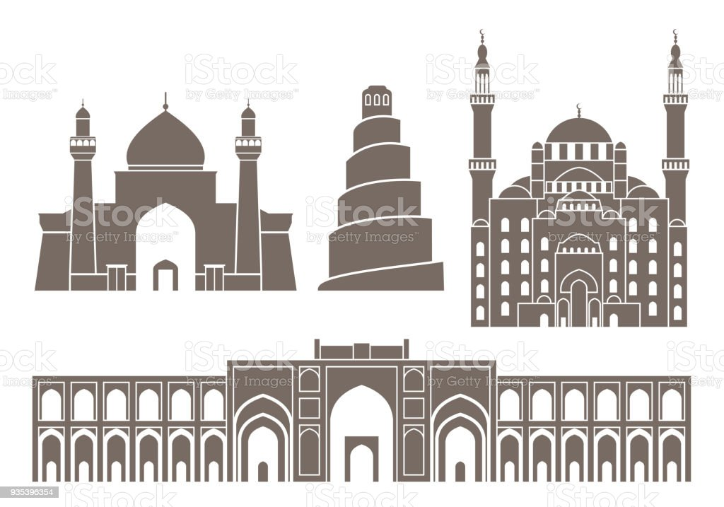 Iraq set. Isolated Iraq architecture on white background vector art illustration