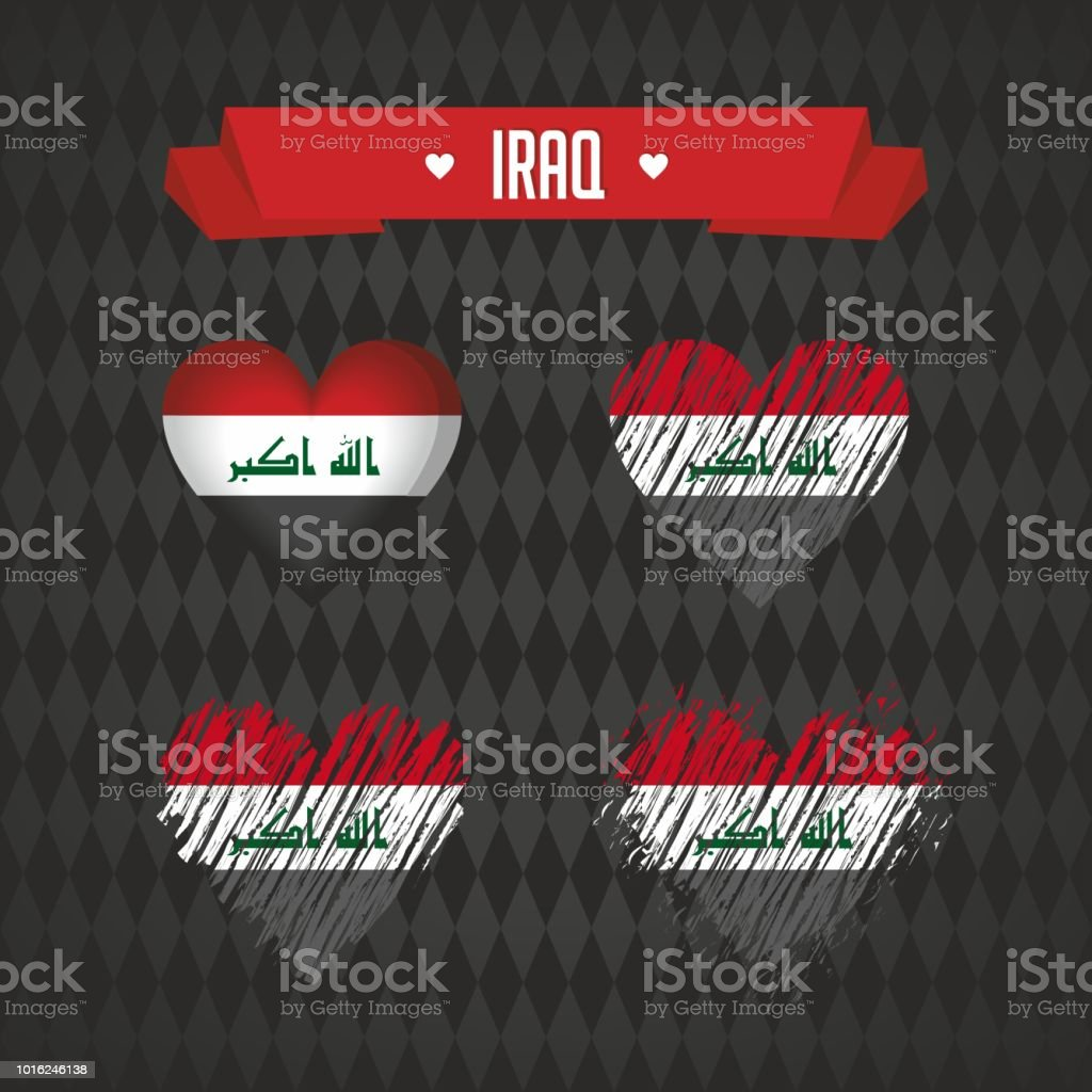 Iraq with love. Design vector broken heart with flag inside. vector art illustration
