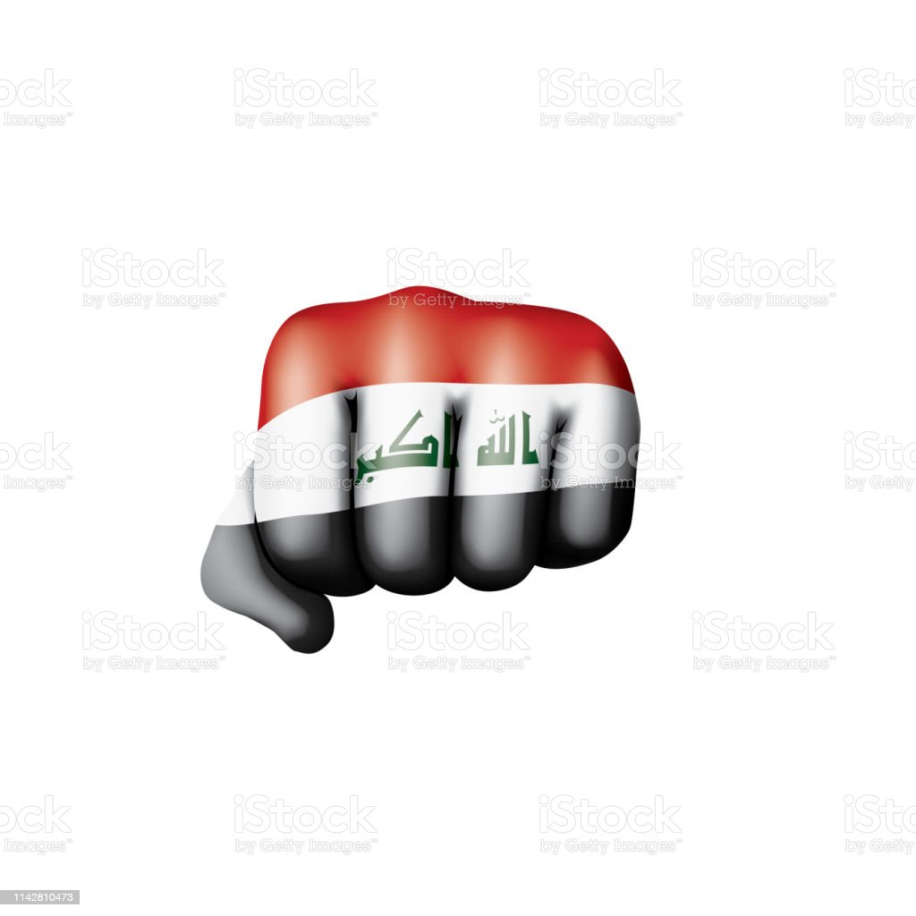 Iraqi flag and hand on white background. Vector illustration vector art illustration