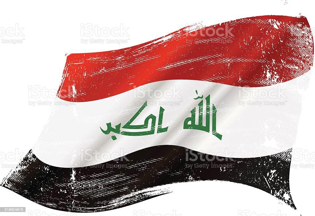 Iraqi grunge flag vector art illustration