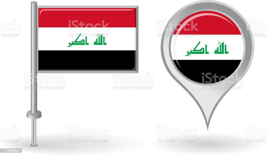 Iraqi pin icon and map pointer flag. Vector vector art illustration
