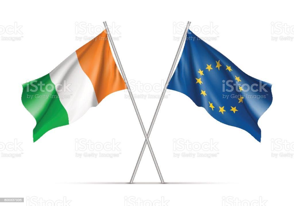 Irlanda y la Unión Europea ondeando banderas - ilustración de arte vectorial