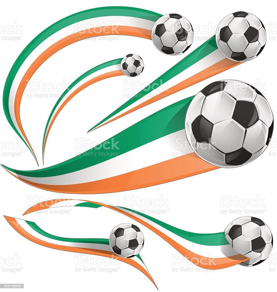 ireland and ivory coast flag with soccer ball vector art illustration