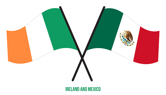 Ireland and Mexico Flags Crossed And Waving Flat Style. Official Proportion. Correct Colors.