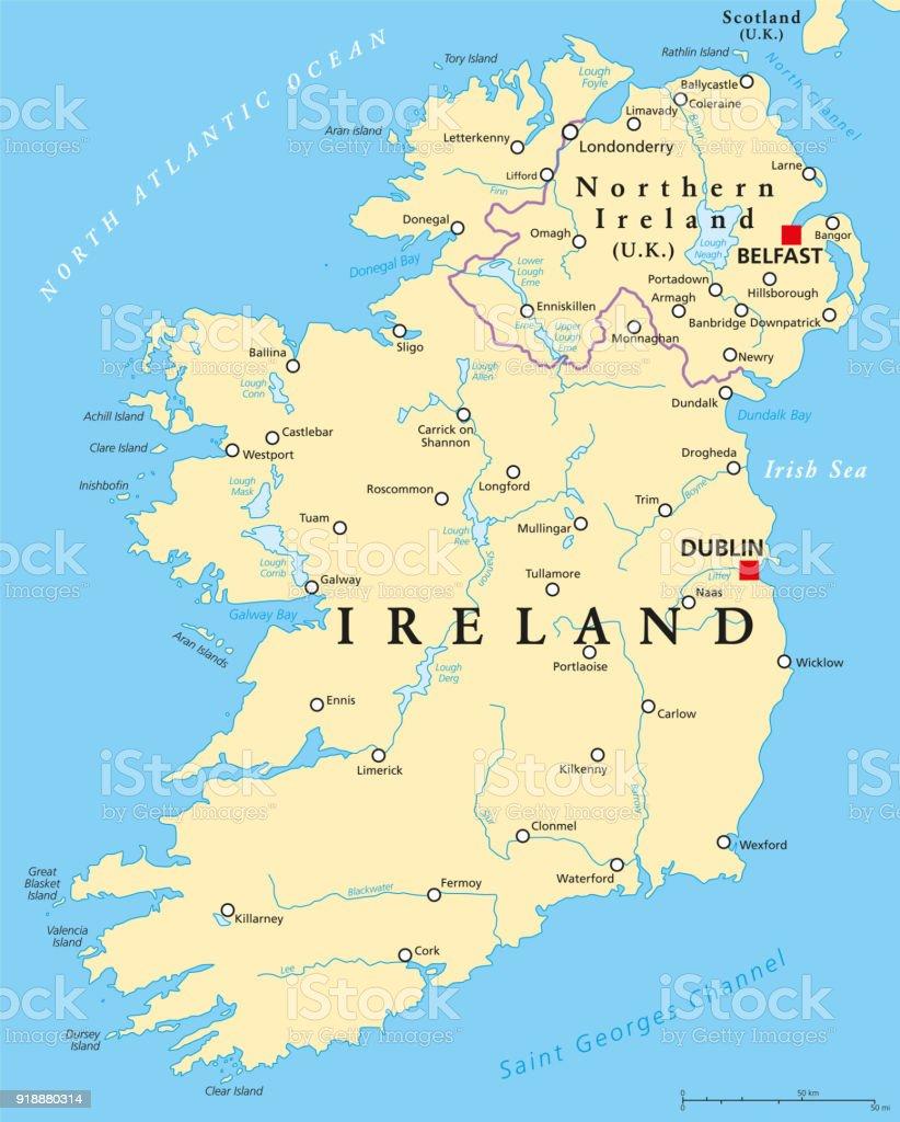 Ireland and Northern Ireland political map vector art illustration