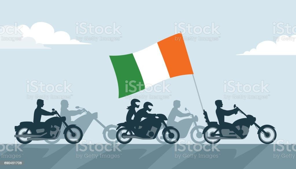 Ireland bikers on motorcycles with national flag vector art illustration