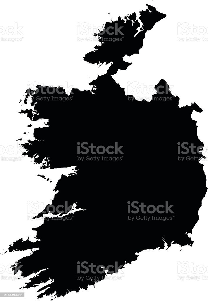 Ireland black map on white background vector