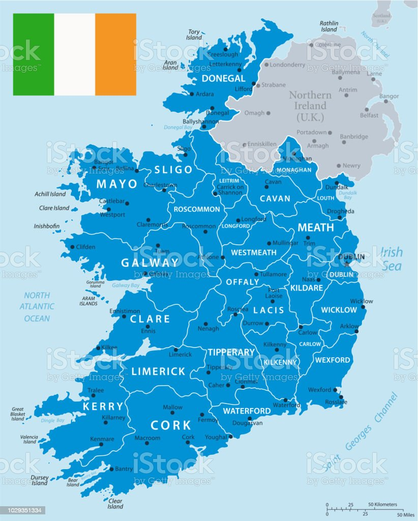 Galway Bay Ireland Map.33 Ireland Blue Gray 10 Stock Vector Art More Images Of