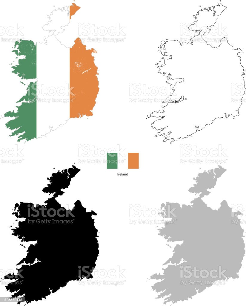 Ireland country black silhouette and with flag on background vector art illustration