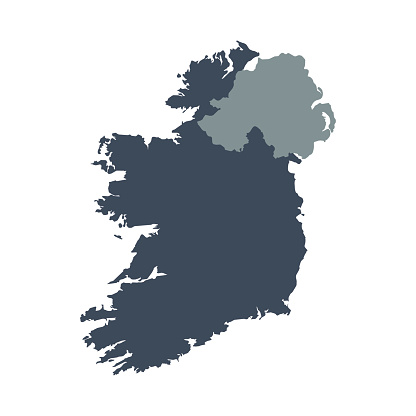 A graphic illustrated vector image showing the outline of the country ireland. The outline of the country is filled with a dark navy blue colour and is on a plain white background. The border of the country is a detailed path.