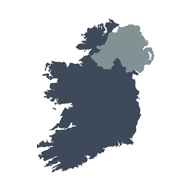 Ireland country map A graphic illustrated vector image showing the outline of the country ireland. The outline of the country is filled with a dark navy blue colour and is on a plain white background. The border of the country is a detailed path.  uk border stock illustrations