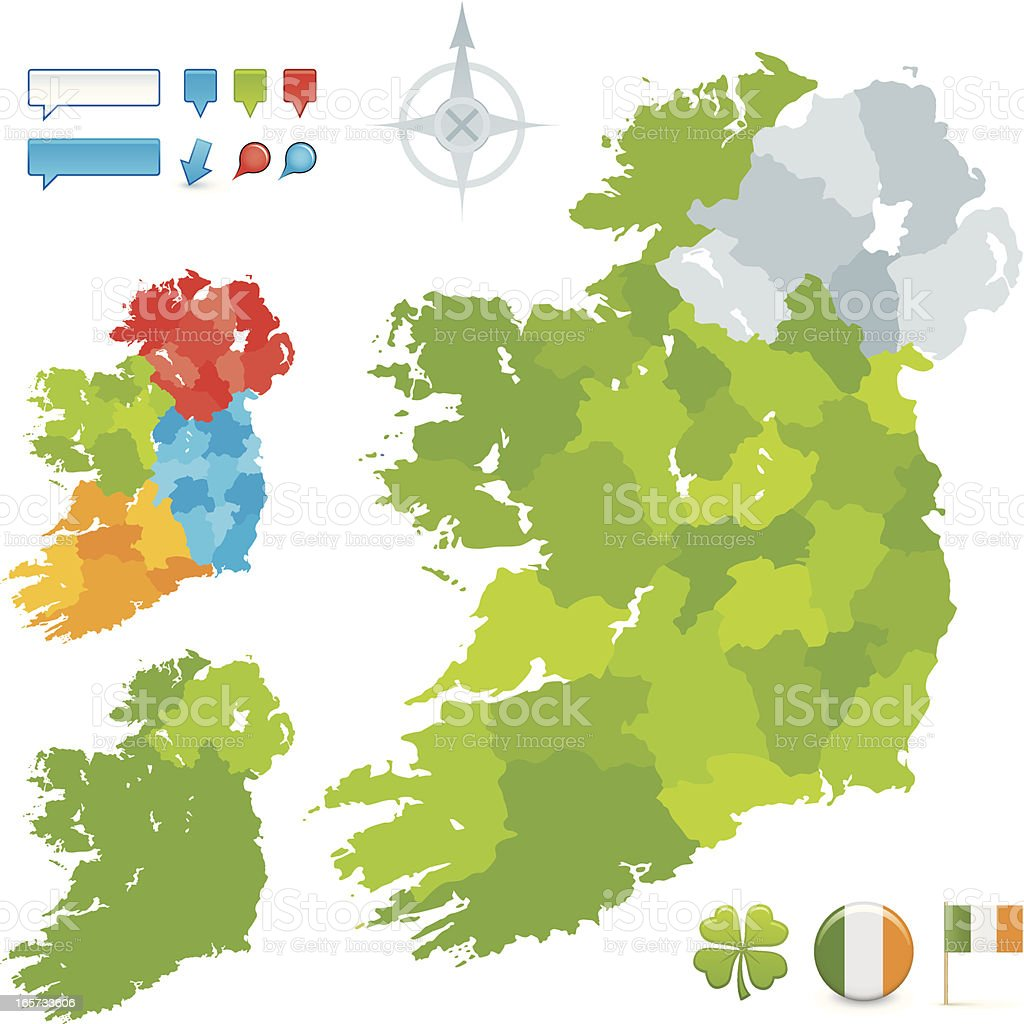 Ireland County and Provincial map vector art illustration