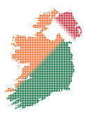 Ireland Dot Map In Colour