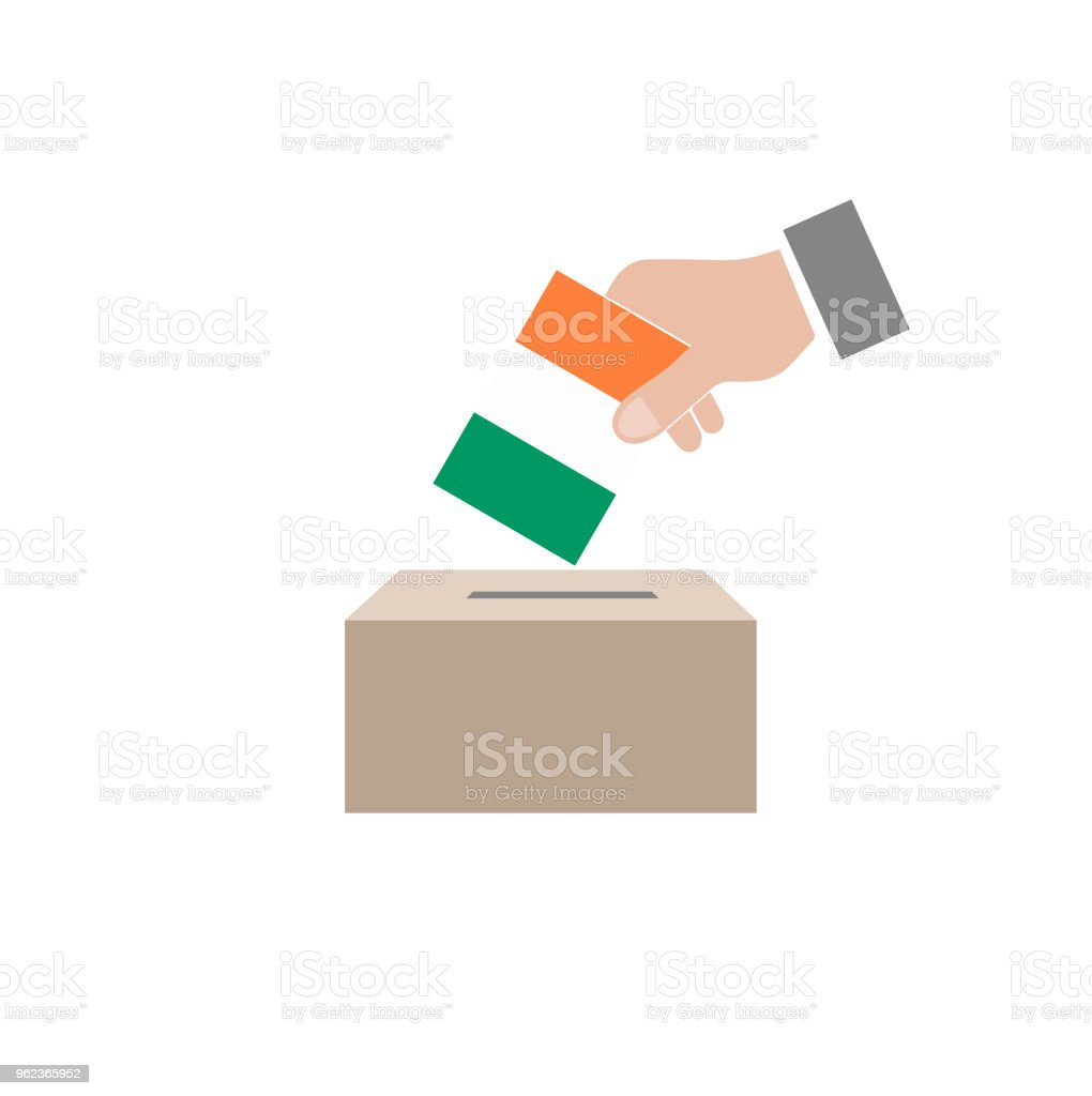 ireland elections, national flag and ballot box, white background vector work