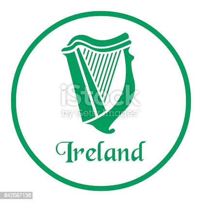 istock Ireland emblem with celtic harp 642067138