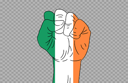 Ireland flag colored hand isolated on png or transparent  background, Symbols of Ireland template for banner,card,advertising ,promote,magazine,vector,top gold medal winner sport country