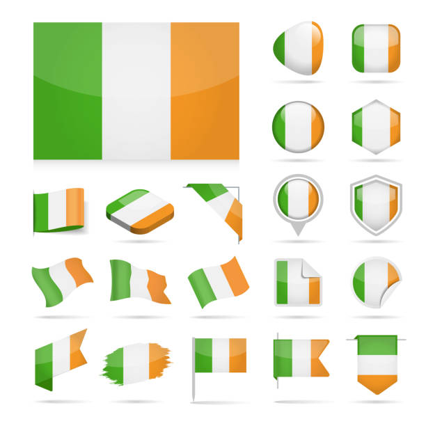 アイルランド - フラグのアイコン光沢のあるベクトルを設定 - アイルランドの国旗点のイラスト素材/クリップアート素材/マンガ素材/アイコン素材
