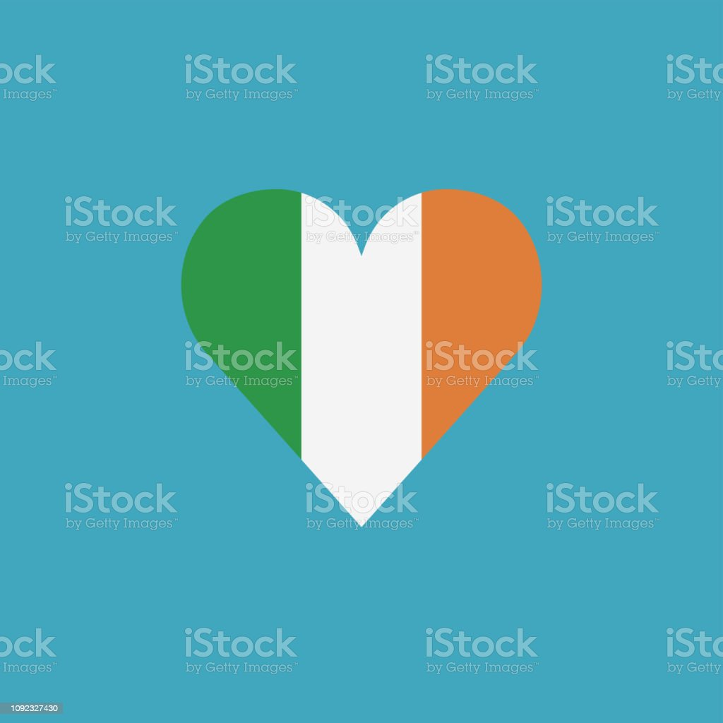 Ireland flag icon in a heart shape in flat design