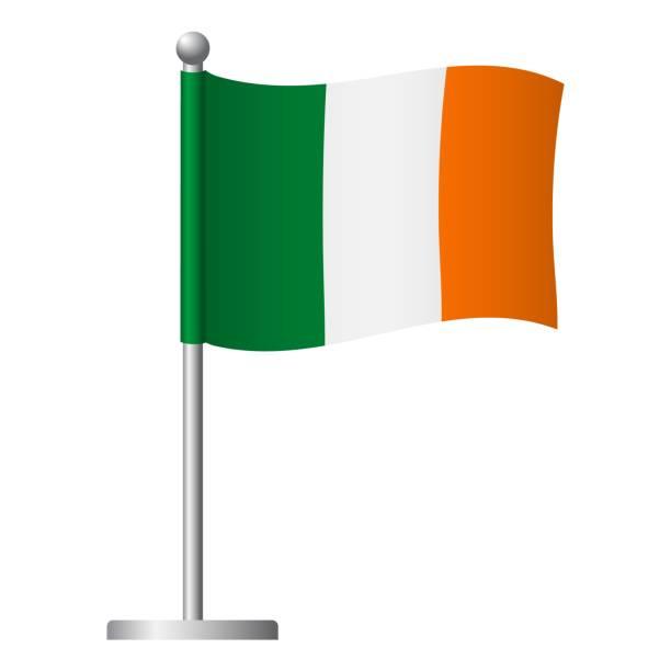 ilustraciones, imágenes clip art, dibujos animados e iconos de stock de bandera de irlanda en el icono del polo - bandera irlandesa