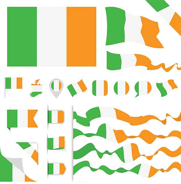 ilustraciones, imágenes clip art, dibujos animados e iconos de stock de ireland flag set - bandera irlandesa
