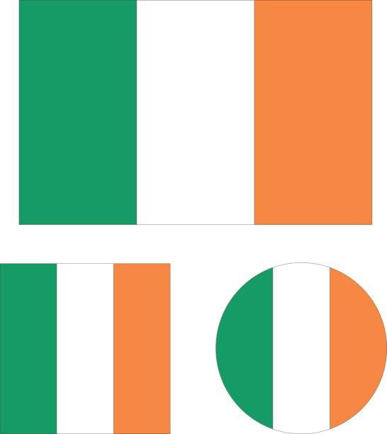 ilustraciones, imágenes clip art, dibujos animados e iconos de stock de irlanda flags - bandera irlandesa