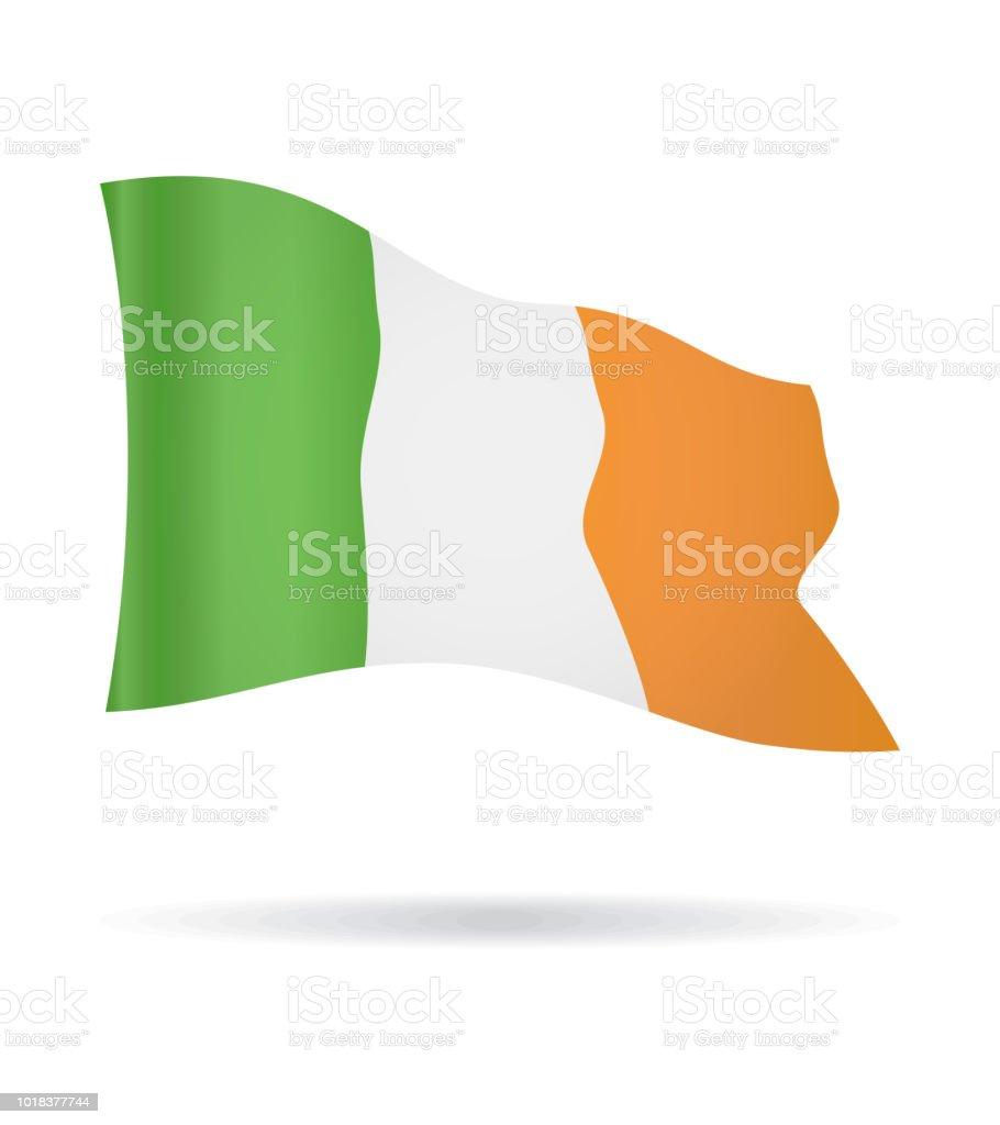 Irlanda - bandera bandera Vector brillante icono de vuelo - ilustración de arte vectorial