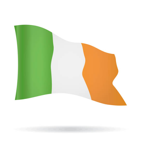 Irlande - Flying Banner drapeau Vector Glossy Icon - Illustration vectorielle