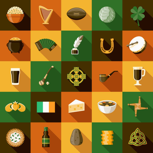 Ireland Icon Sets A set of icons. File is built in the CMYK color space for optimal printing. Color swatches are global so it's easy to edit and change the colors. irish culture stock illustrations