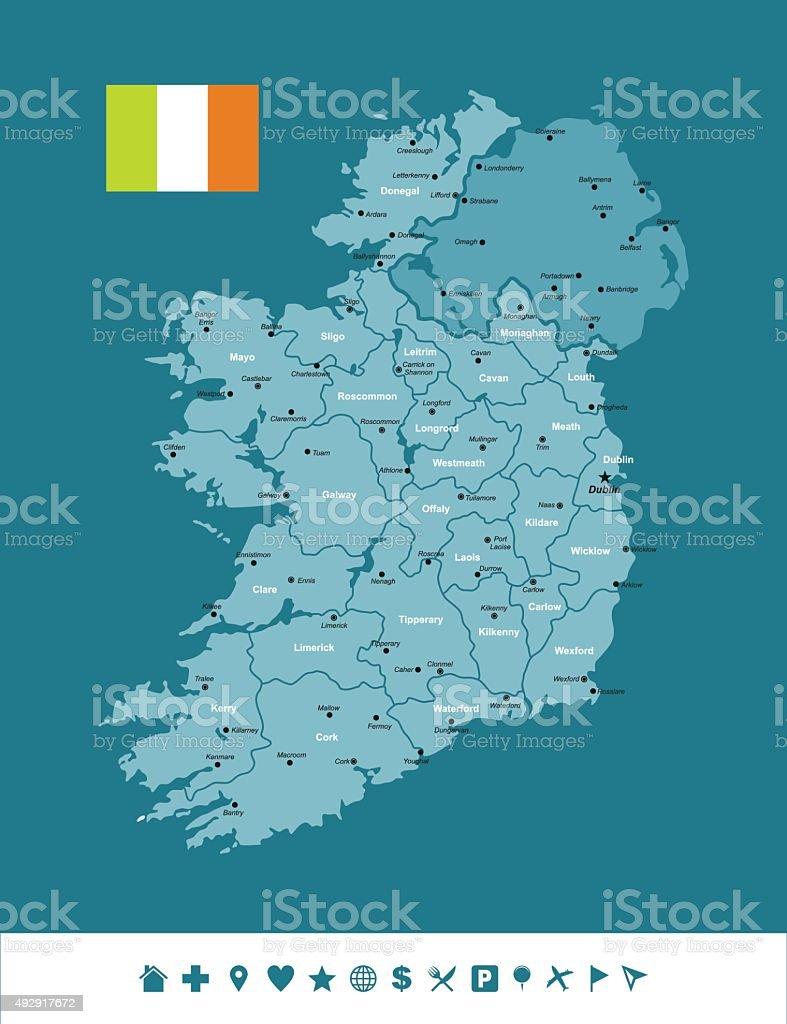 Ireland Infographic Map vector art illustration